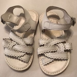 Janie and Jack girls white leather sandals Sz 6